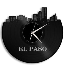 Wedding Gift - Personalized Clock, El Paso Skyline, Texas Wall Art, Gift For Her, Home Decoration, Present Ideas, Vinyl Record Clock - VinylShop.US