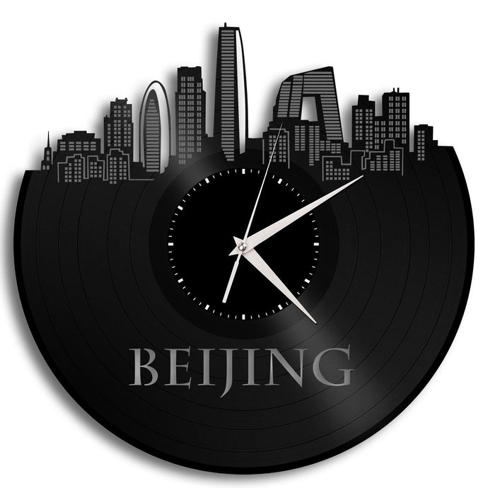 Quartz Silent Clock, Beijing China Skyline, Chinese Gift, World Travel Art, Vinyl Record Clock, Personalized Label, Creative Wall Decor - VinylShop.US