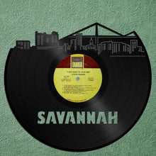 Savannah GA Skyline, Georgia Gift, Home Decor, Wall Art, Personalized Vinyl, Savannah Georgia, Unique Decorations, Repurposed Record Decor - VinylShop.US