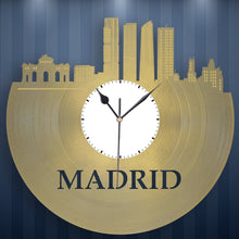 Real Madrid Skyline Clock, Spain Cityscape, Spanish Decor, Vinyl Record Art, Unique Gifts For Guys, Madrid Spain, City Wall Decor, Retro - VinylShop.US