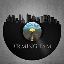 Skyline Wall Art  - Birmingham Skyline, Birmingham Cityscape, Vinyl Record Art, Bachelor gift, Birmingham Wedding, wall decor - VinylShop.US