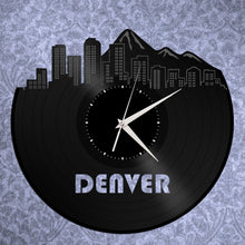 Denver Skyline Clock, Colorado Cityscape Clock, Wall Art Gift Idea, Unique Wall Clock, Large Wall Clock, Vinyl Clock, Denver Record Clock - VinylShop.US