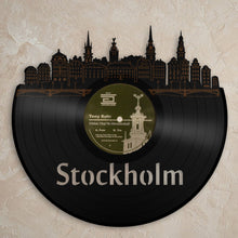 Stockholm Wall Decor, Modern Art, Swedish Gift, Sweden Travel, Scandinavian Print, Vinyl Wall Art, Unique Clock, Record Art, Home Decoration - VinylShop.US