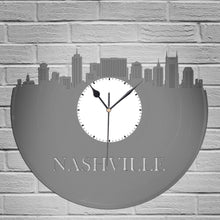 Nashville Skyline - Nashville Art Clock,  Nashville Wall Art,  Nashville Clock, Cityscape Clock, Vinyl Record Clock,  Unique Wall Clock - VinylShop.US