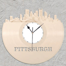 Pittsburgh Art - Skyline Wall Clock,  Wall Clock, Cityscape Clock, Vinyl Record Clock,  Unique Wall Clock,  Large Wall Clock, Vinyl Clock - VinylShop.US