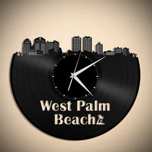 Skyline Clock - West Palm Beach,  Wall Clock, Cityscape Clock, Vinyl Record Clock,  Unique Wall Clock,  Large Wall Clock, Vinyl Clock - VinylShop.US