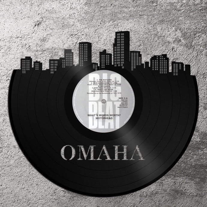 Vinyl Record - Omaha Record Skyline, Vinyl Record Art, Recycled Vinyl Record Wall Art,  Home Decor Ideas, Nebraska Wall Decor, Vinyl Record - VinylShop.US