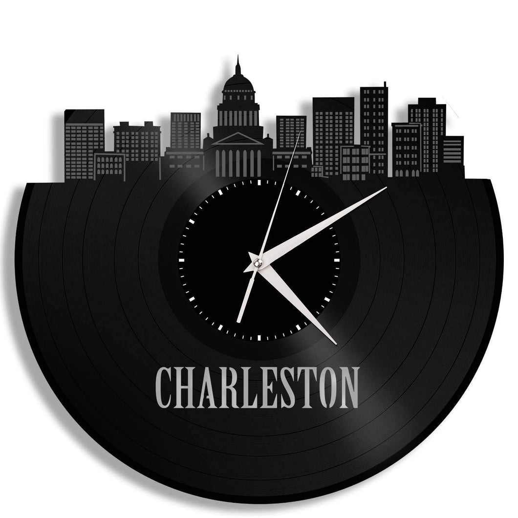 Family Reunion Gifts, Charleston West Virginia Skyline Clock, Vinyl Wall Art, Home Decor, Bulk Gift Ideas, Personalized Repurposed Gifts - VinylShop.US
