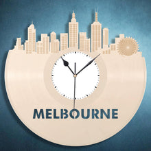 Melbourne Clock, Australian Gift, Travel Gift, Birthday Gifts, Modern Wall Decor, Vintage Decorations, Record Art, Vinyl Wall Clock - VinylShop.US