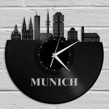 Munich Clock, Germany Gift, Personalized Gift for Best Friend, Munich, Germany, Home Decor, Wall Art, Repurposed Vinyl Record Clock - VinylShop.US