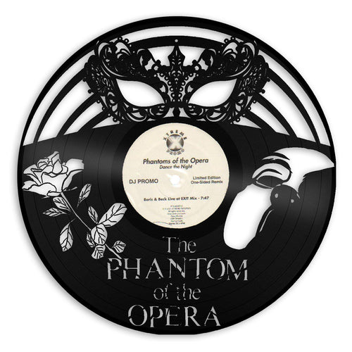Phantom Of Opera Wall Art, Masquerade Mask, Venetian Mask, Musical Phantom Mask, Wall Decor, Broadway Musical Gift, Vinyl Record Art Decor - VinylShop.US