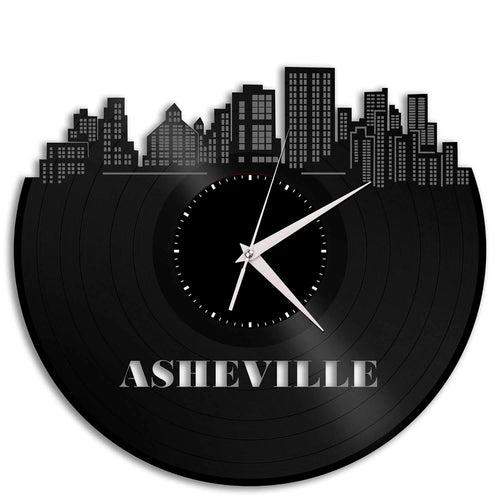 Asheville North Carolina Skyline Vinyl Wall Clock - VinylShop.US