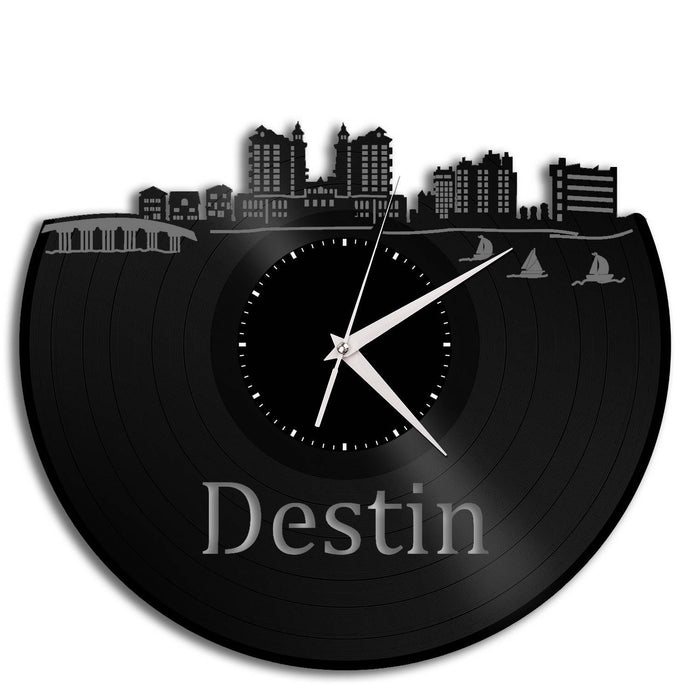 Destin Florida Clock, Destin Vacation Home Decor Ideas, Coastal Decoration, Sea Wall Decor, Repurposed Record Decorations, Unique Mini Art - VinylShop.US