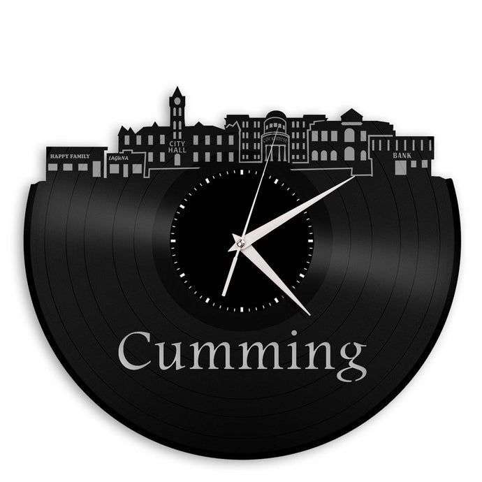 Cumming GA Skyline Wall Clock - VinylShop.US