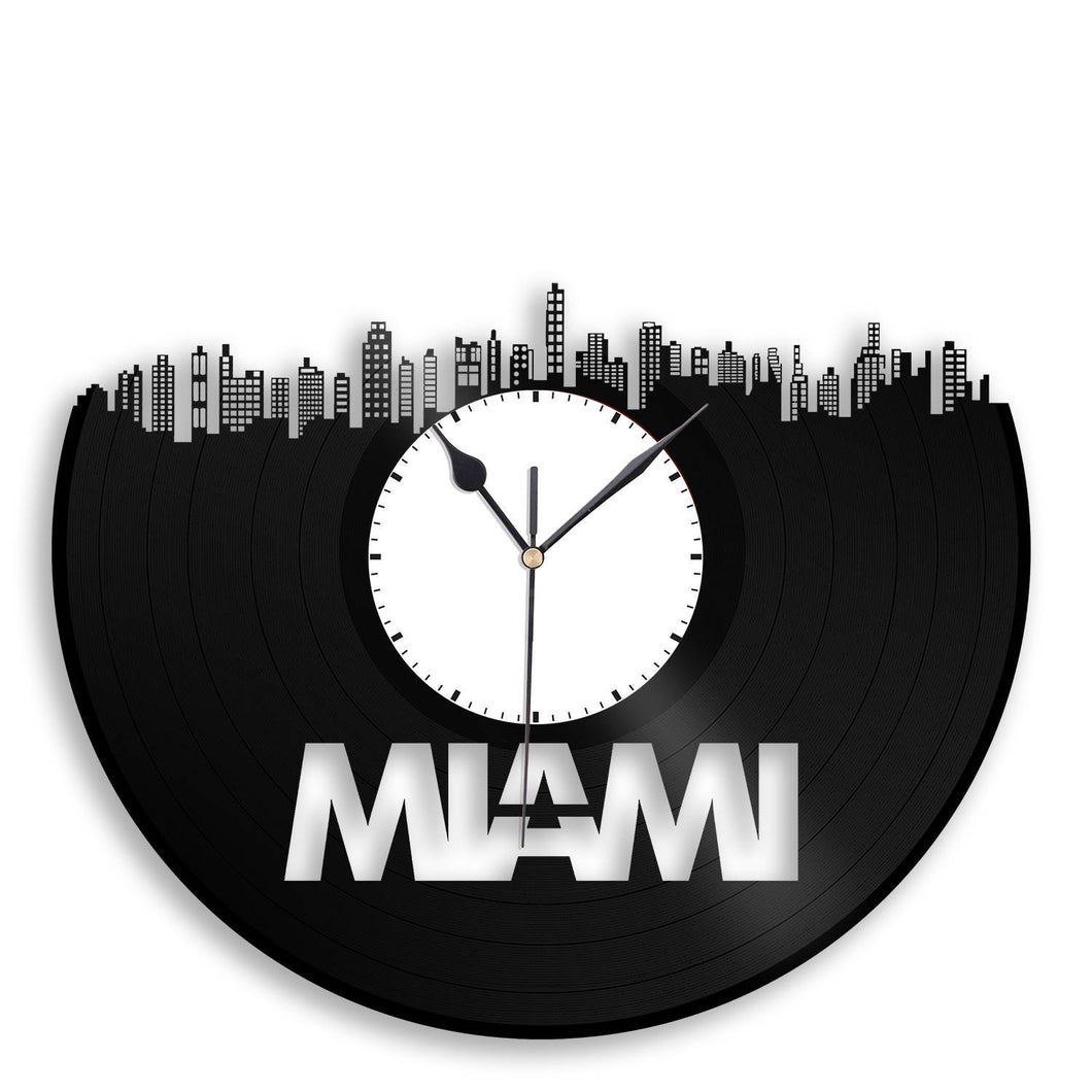 Unique Beach Decor - Miami Skyline Clock, Beach Decor Ideas, City Clock, Coastal Cityscape, Vinyl Record Clock, Perfect Gift for Birthday - VinylShop.US