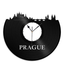 Prague Skyline - Wall Art Clock,  Prague Print Wall Clock, Cityscape Clock, Vinyl Record Clock,  Unique Wall Clock,  Large Wall Clock - VinylShop.US