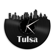 Room Wall Decor - Tulsa Clock, Skyline Wall Art, Oklahoma Gift, Decorative Plates, Personalized Clock, Vinyl Record Clock, City Vinyl Art - VinylShop.US