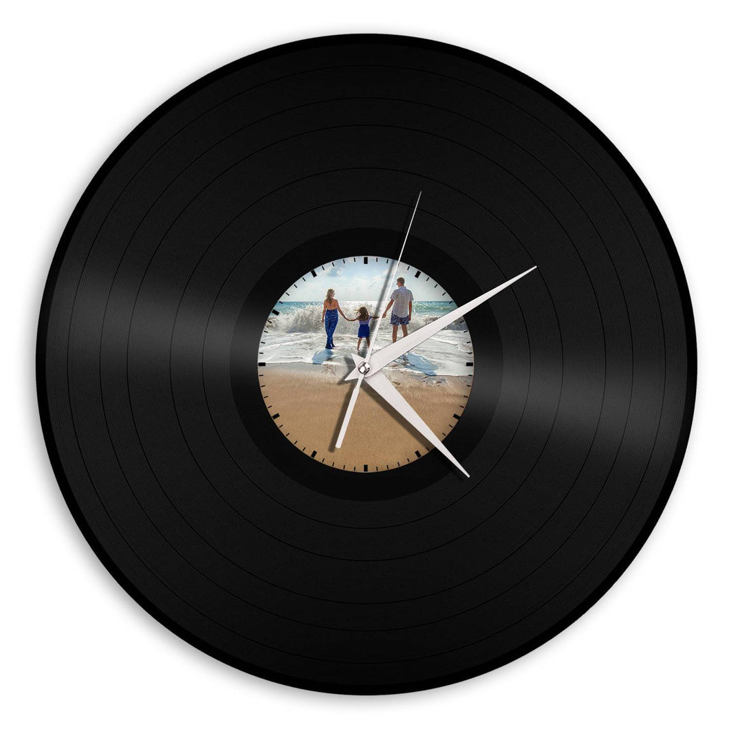 Photo Clock, Personalized Picture Gifts, Perfect Personalized Gift, Original Vinyl Record Wall Clock, Under 20 Gift Idea, Repurposed Gifts - VinylShop.US