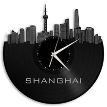 Eco Friendly Clock, Shanghai China, Shanghai Skyline, Chinese Decor Ideas, China Birthday Gifts, Office Space Decor, Unique Space Decor - VinylShop.US