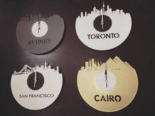 Raleigh Clock, North Carolina Skyline, NC State, Silent Clock, Vinyl Wall Decor, Decorative Wall Plates, Upcycled Record Clock, Gift Idea - VinylShop.US