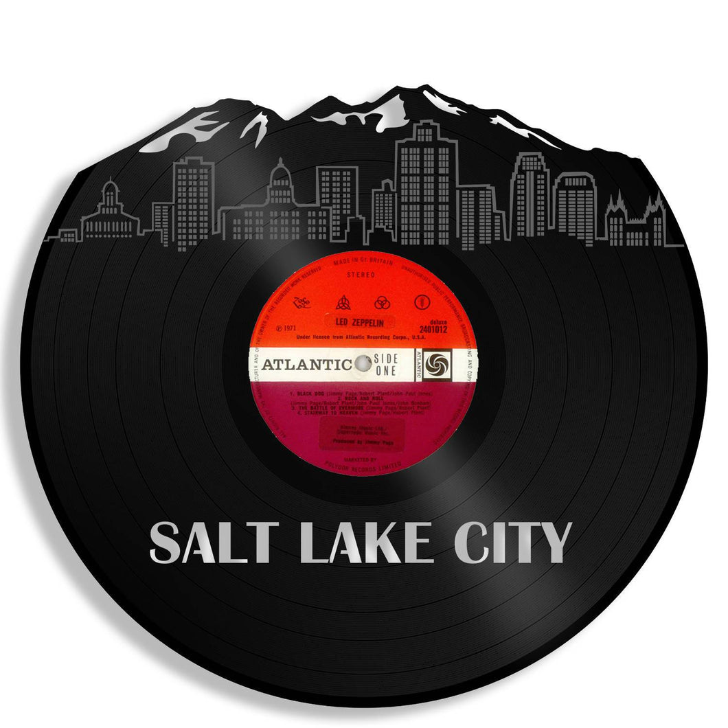 Mountains Nursery Wall Decor, Salt Lake City Skyline, Utah Art, New Home Wall Decoration Ideas, Repurposed Gifts For Men, For Mom, For Dad - VinylShop.US