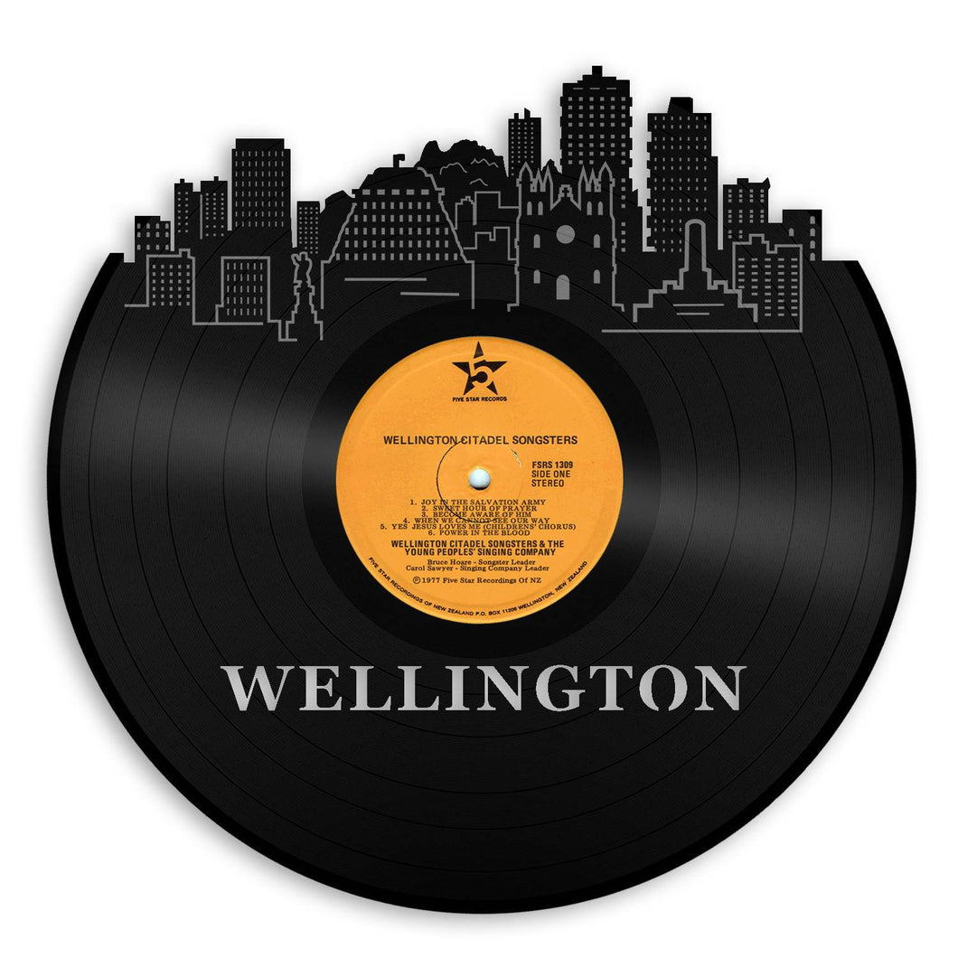 Wellington skyline wall art Old record vinyl wall art Gift for him Wellington wall art Wellington cityscape gift New Zealand record art - VinylShop.US