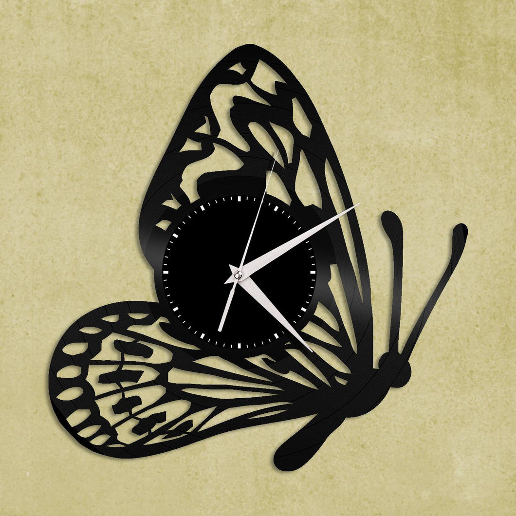 Butterfly Nursery Vinyl Record Wall Clock Unique Gift Kids Room ...