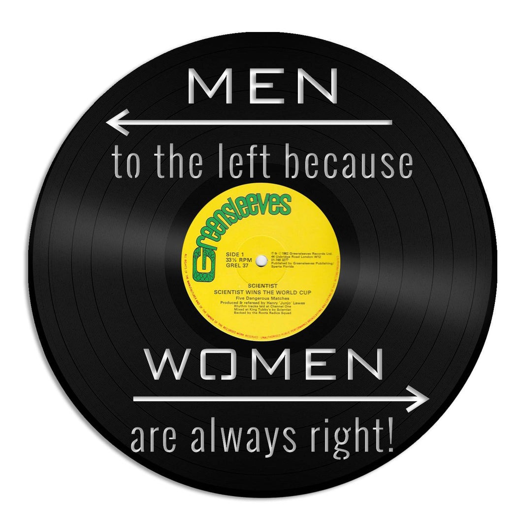 Restroom Wall Art Powder Room Sign Bathroom Art Men to the left because Women Are Always Right Wall Decor Home Decor Vinyl Record Wall Art - VinylShop.US