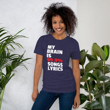 My Brain is 99.9% Songs Lyrics Music Funny Tshirt