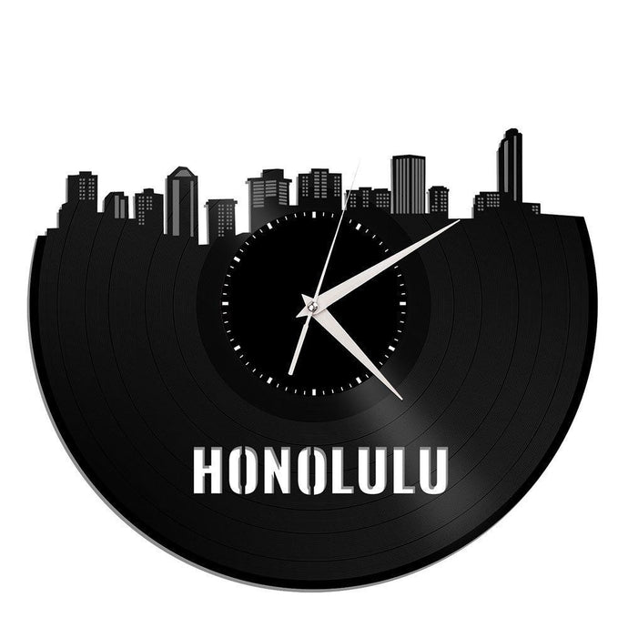 Honolulu Skyline Vinyl Wall Clock