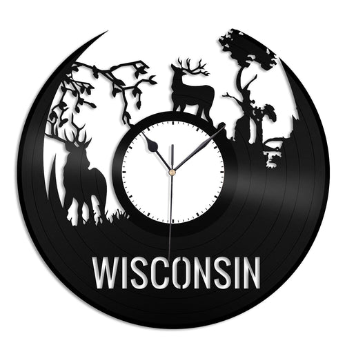 Wisconsin Forest Deers Vinyl Wall Clock - VinylShop.US