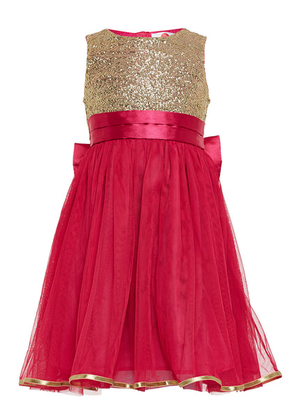 The Cranberry Club Pink Sequinced Bow Tutu Dress - The Cranberry Club - kids clothing - Jumpsuits & Playsuits Older