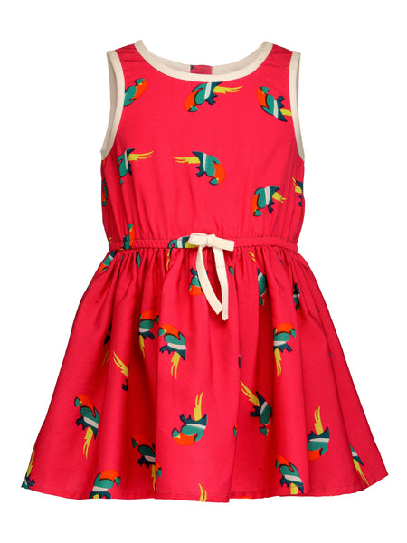 Pink Parrot Dress - The Cranberry Club - kids clothing - Casual Dress