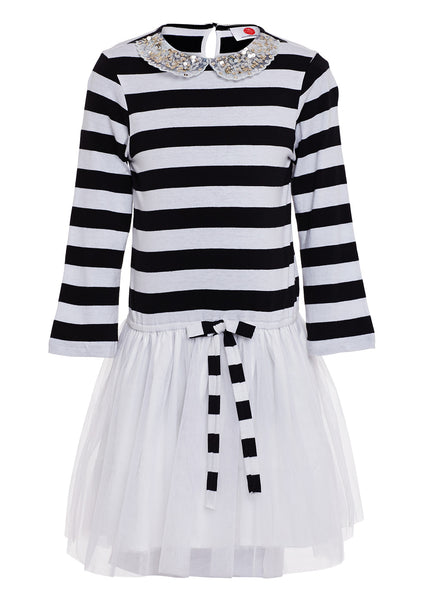 Black and White Striped Casual Dress - The Cranberry Club - kids clothing - Casual Dresses