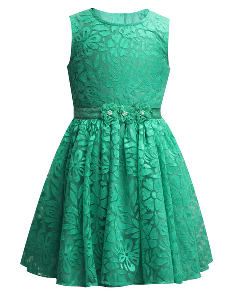 Green Brasso Party Dress - The Cranberry Club - kids clothing - Cranberry Classics Younger