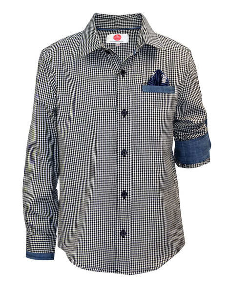 Grey Check Shirt - The Cranberry Club - kids clothing - Boys Shirt