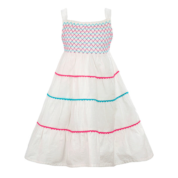 White Dobby Sun Dress - The Cranberry Club - kids clothing - Casual Dress
