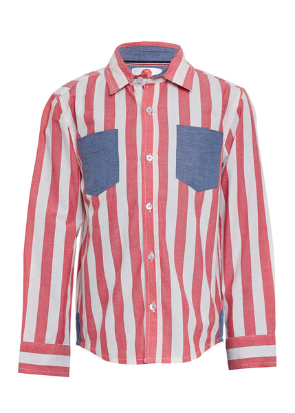 Boys Red Stripe Shirt - The Cranberry Club - kids clothing - Boys Shirt