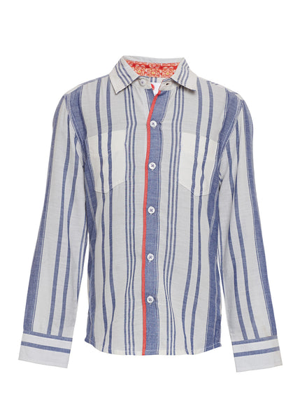 Boys Blue Stripe Shirt - The Cranberry Club - kids clothing - Boys Shirt