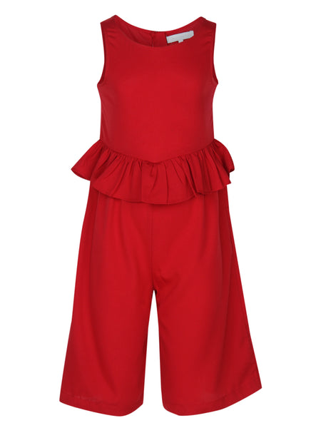 Red Casual Jumpsuit - The Cranberry Club - kids clothing - Casual Jumpsuit