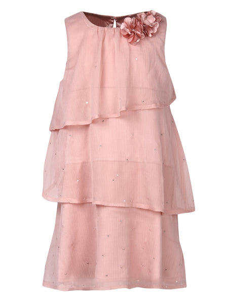 Peach Chiffon Triple Layer Dress With Corsage At Shoulder - The Cranberry Club - kids clothing - Casual Dresses