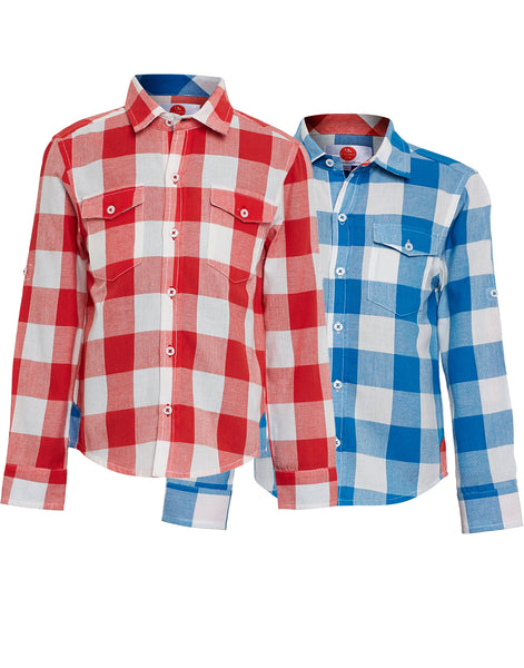 Pack of 2 Boys Blue & Red Check Shirt - The Cranberry Club - kids clothing - Boys Shirt