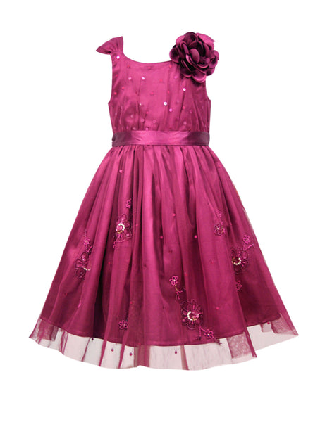 Maroon Embellished Dress - The Cranberry Club - kids clothing - Party Dresses