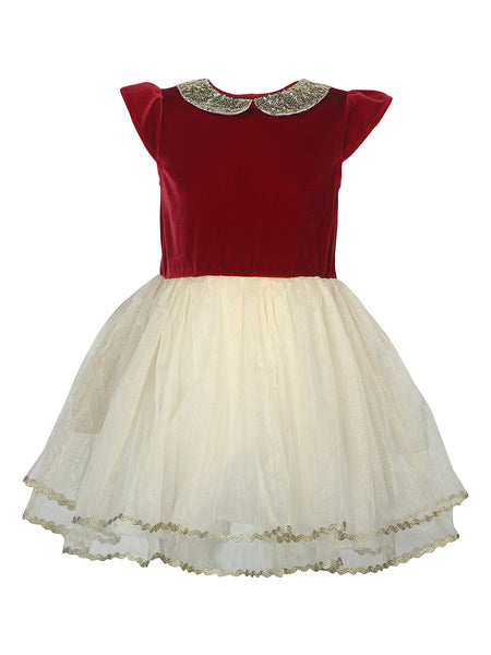 Sequins Collar Red Velvet Dress - The Cranberry Club - kids clothing - Party Dresses