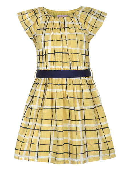 Printed Yellow Dress With Blue Sash - The Cranberry Club - kids clothing - Casual Dresses