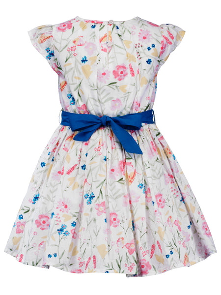Floral dress with Blue Sash - The Cranberry Club - kids clothing - Casual Dress
