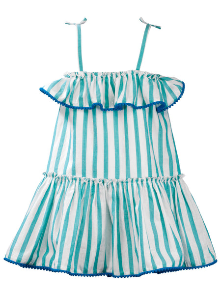 Green Stripes Sun Dress - The Cranberry Club - kids clothing - Casual Dress