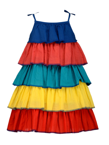 Multi Color Panel Dress - The Cranberry Club - kids clothing - Casual Dress