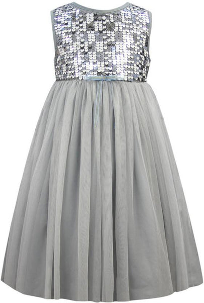 Grey Party Dress - The Cranberry Club - kids clothing - Party Dresses Younger
