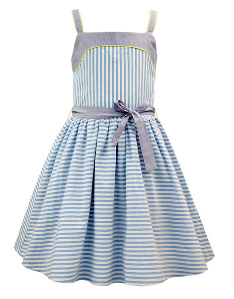 Blue and White Strip Casual Dress - The Cranberry Club - kids clothing - Casual Dresses